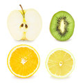 Set with fruit halves Stock Photos