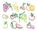 Set of fruit hand drawn icon Stock Images