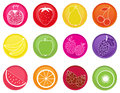 Set fruit icons Royalty Free Stock Photo