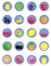 A set of fruit icons Stock Image