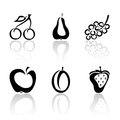 Set of fruit icons black on white background illustration Stock Photo