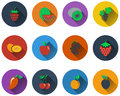 Set of fruit icons in flat design eps vector illustration with transparency Stock Photo