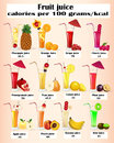Of a set of fruit juices with calories illustration Royalty Free Stock Image