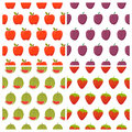Set of fruit seamless patterns. Healthy food backgrounds Royalty Free Stock Photo