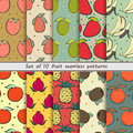 Set fruit seamless patterns patternsset of pattern exotic fruits of abstract background Royalty Free Stock Photos