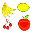 Set of fruit shapes in yellow red and green Stock Photo