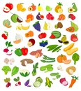 Set of fruit and vegetables illustration..Fruit and vegetable icons Royalty Free Stock Photo