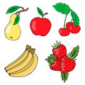 Set of fruits: apple, pear, banana, cherry, strawberry. Vector isolated image.