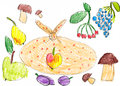 Set of fruits and vegetables childlike drawing on paper Stock Photos