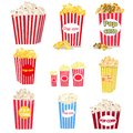 Set of full red-and-white striped popcorn buckets in different sizes.