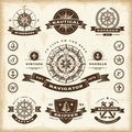 Set fully editable vintage nautical labels badges woodcut style eps vector illustration Royalty Free Stock Photos