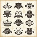 Set fully editable vintage premium quality labels woodcut style eps vector illustration Stock Photo