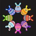 Set of fun Easter rabbit like eggs along the rim black
