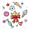 Set of fun trendy diadem sweets heart star icecream candy flower sticker isolated on white