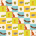 Set of funny animals bat turtle owl tiger kangaroo narwhal seamless pattern. Polka dot background with green blue orange square. V Royalty Free Stock Photo