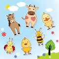 Set of funny animals from the farm cow horse chicken duck bee ladybug on background blue sky and palm trees Stock Photos