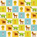 Set of funny animals mouse lion cow dinosaur tiger horse seamless pattern polka dot background with green blue orange square vec Royalty Free Stock Image