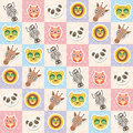 Set of funny animals muzzle owl raccoon unicorn cow bear cat seamless pattern with pink lilac blue square. Vector