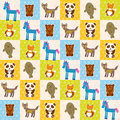 Set of funny animals panda bear wolf fox fur seal unicorn seamless pattern Royalty Free Stock Photo