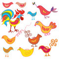 Set of funny birds Royalty Free Stock Image