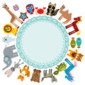 Set of funny cartoon animals character on a white background walking around globe. frame for your text. zoo.