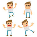Set of funny cartoon casual man Stock Photos