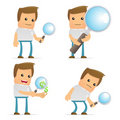 Set of funny cartoon casual man Stock Image