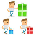 Set of funny cartoon casual man Royalty Free Stock Image