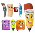 Set of Funny Cartoon Characters School Items Supplies