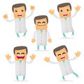 Set of funny cartoon doctor Stock Image