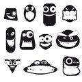 Set of funny cartoon faces, different emotions, on white