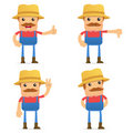 Set of funny cartoon farmer Royalty Free Stock Images
