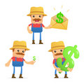 Set of funny cartoon farmer Stock Images