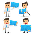Set of funny cartoon manager Stock Photos