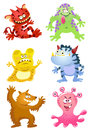 Set of funny cartoon monsters eps file simple gradients Royalty Free Stock Photos
