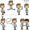 Set of funny cartoon office worker,vector Stock Photos