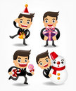 Set of funny cartoon office worker with xmas eleme Royalty Free Stock Photo