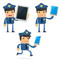 Set of funny cartoon policeman Royalty Free Stock Image