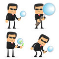 Set of funny cartoon security Royalty Free Stock Image