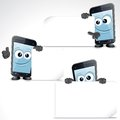 Set of funny cartoon smart phone clip art mobile with blank sign and thumb up Royalty Free Stock Images