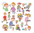 Set of funny cartoons vector illustration Royalty Free Stock Image