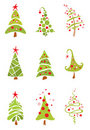 Set of funny christmas trees Royalty Free Stock Photography