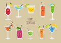 Set of funny cocktails. Colorful drinks in different glasses with straw. Vector illustration in cartoon style. Royalty Free Stock Photo