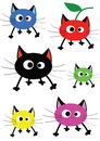 Set of funny colorful cats Royalty Free Stock Photo