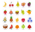 Set of funny cute cartoon fruits.