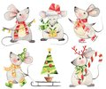 Set of funny cute xmas mice watercolor