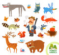 Set funny forest little animals. Cartoon character Royalty Free Stock Photo