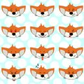 Set of funny fox emoticons - smiling orange foxes with different emotions from happiness to angry. Can be used for logos, icons.