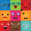 Set of funny hipster monster eyes vector illustration Royalty Free Stock Photos