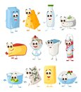 Set of Funny Milk Products with eyes on white background, funny products series Royalty Free Stock Photo